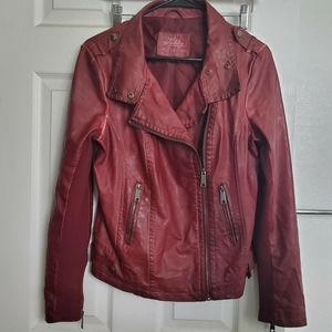 Sebby Collection red faux leather moto jacket